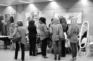 The busy Chic Hijab booth in the Souk Bazaar