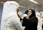 Backstage at the Fashion Show; model wearing Sazamo Bridal